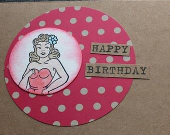 Happy Birthday Pin Up Girl Card Retro Rockabilly Girly Card