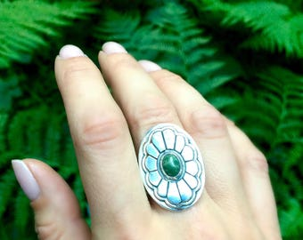 Hand Carved Sterling Silver Statement Ring // Jade Sunflower // New Jade Serpentine Flower Ring