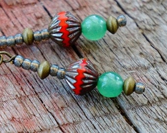 Red and Green, Chinese Jade Earrings, Red Earrings, Rustic Earrings, Simple Jewelry, Natural Materials