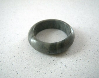 Marbled Gray Solid Stone Ring - Size 6 1/2