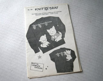 Three Little Kittens Knit O Graf Child Cardigan Pullover Sweater Knitting Pattern