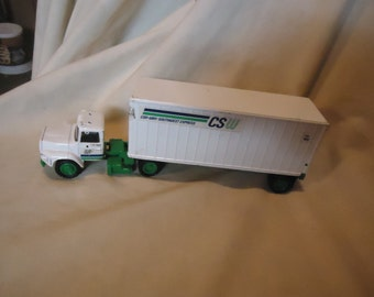Vintage Tomkin CSW Con-Way Southwest Express Diecast Metal Semi Truck and Trailer, collectable
