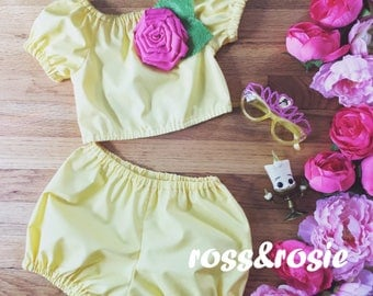 Belle Inspired Everyday Dress Up PlaySet, Two Piece Crop Top and bloomers...Made to Order, size 6m-6