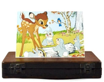 BAMBI blank greeting card Disney Little Golden Book repurposed party children birthday decoration baby shower recycled