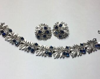 Crown Trifari Dark Sapphire Blue Rhinestone and Silver Clip Earrings and Bracelet Demiparure