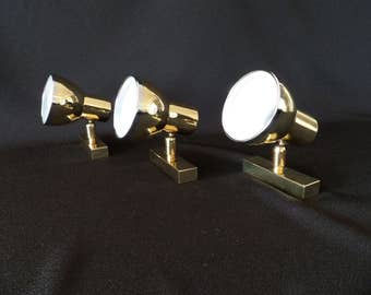 3 x vintage 1970s Boulanger Sconces Spot Lamps Brass in the manner of Stilnovo