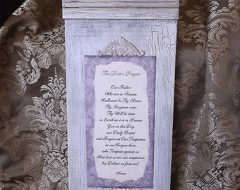 The Lord's Prayer, wood prayer large, shabby time worn, antiqued white and taupe