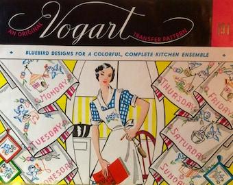 Vogart Vintage Embroidery Hot Iron Transfers Bluebird Designs Kitchen Motifs Linens  Days of the Week 1950's