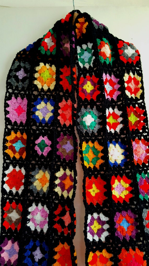 SALE 30% OFF Iconic Granny Squares Scarf Ready To Ship Black Crochet
