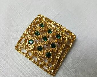 Sarah Coventry  Canada Diamond Green Brooch Retro Emerald
