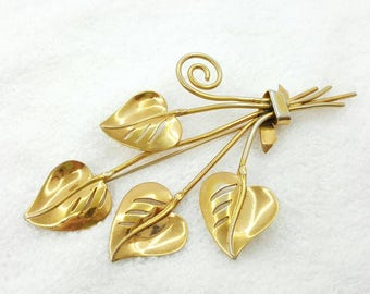 Coro Hector Auguilar Brooch Modernist Leaves Gorgeous