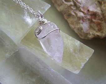 Rose Quartz Natural Gemstone Crystal Pendant