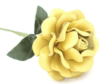 Yellow leather rose long stem leather flower third anniversary wedding gift 3rd anniversary leather anniversary bouquet
