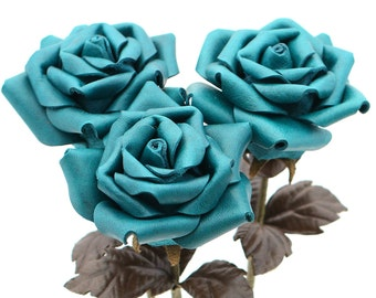 Teal leather rose bouquet third Anniversary wedding gift Long Stem leather Flower Valentine's Day 3rd Leather Anniversary Mother's Day