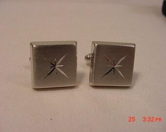 Vintage Engraved Silver Tone Metal Cufflinks   16 - 673