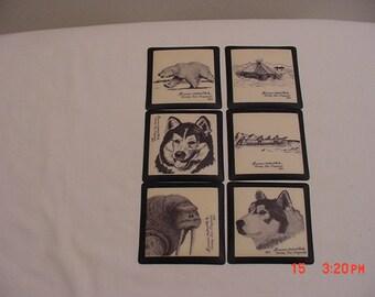 6 Vintage Bering Sea Alaskan Artist Florence Melewotkuk Vinyl Coasters In Original Gift Box  17 - 177