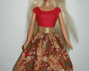 Handmade Barbie clothes -1  Gingerbread Man Christmas dress - Choose your style