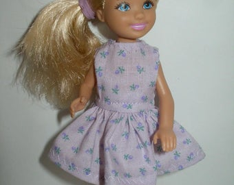 """Handmade 5.5"""" little sister fashion doll clothes -purple floral dress"""