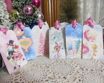 Retro Mid Century Pink Christmas Tags-with vintage Seam Binding Ties-Set of 6-ATC