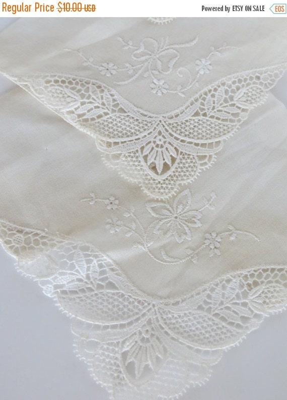 ON SALE Vintage Hankies--Set of 3-White Wedding
