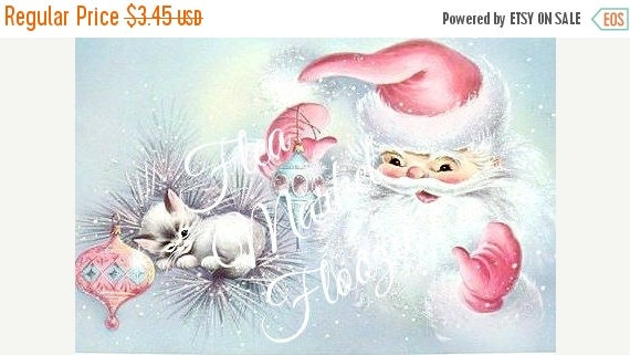 ON SALE Mid Century Christmas Tags-SantaTags-Pink-Shabby-Chic-Retro-Christmas Gift Tags
