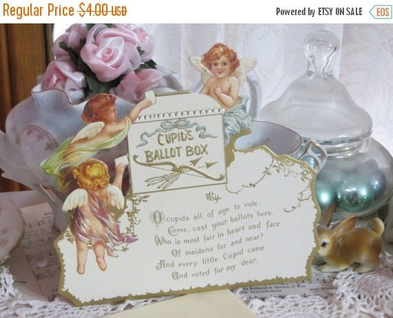 ON SALE Vintage Reproduction Valentine Card-Stand Up-Angels-Cherubs