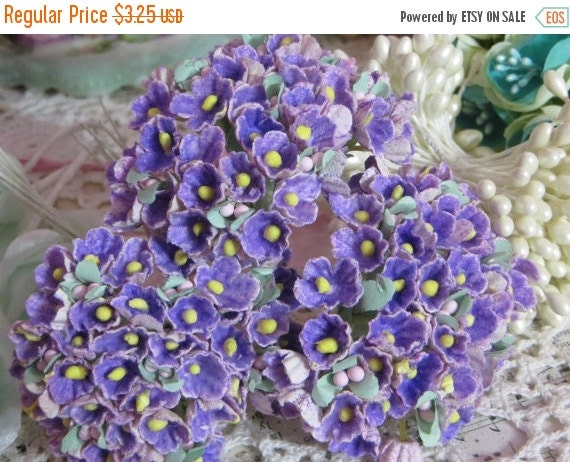 ON SALE Vintage Millinery Flowers-Forget Me Nots-ATC-Scrapbooking-Embellishment-1 Bunch-French Purple