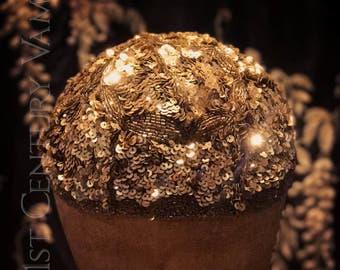 Breathtaking 1920s Flapper Cap. Gold Sequins and Beads. Made In France. Jazz Age. Skullcap. Juliet. Juliette. Wedding. Bride.