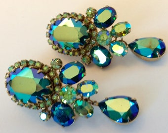 Rare Vendome Blue Teardrop Crystal Earrings From The 1950's