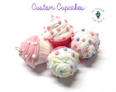 Cold Porcelain Clay Cupcake in Custom Colors - Cupcake Pendant, Cupcake Clay Charm, Cupcake Purse Charm, Keychain  /DIY Cupcake Necklace
