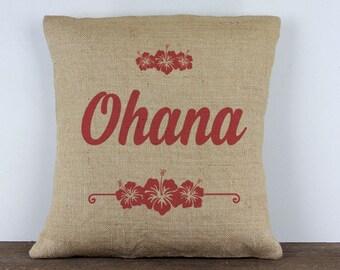 Hawaiian Ohana Burlap Pillow 16x16 // Hawaiian pillow // custom pillows
