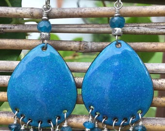 Hand Made Chandelier Earrings, Torch Fired Enamel with Apatite And Sterling Silver