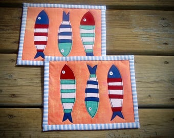 Mini Quilted Market fish Mug Rug, mod mug rug , large coaster, snack mat