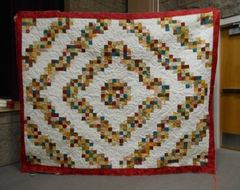 QUEEN or FULL Size Quilt - Log Cabin Block, red, rust, brown, green, orange, blue, purple