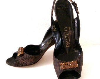 Vintage 1950s Brown Sling Back Heels with Rhinestones - Brown 50s Rockabilly Shoes - 50s Peep Toe Shoes with Amber Rhinestones -  8 Narrow