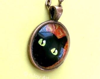 "Black Cat Peeking, Hand Painted Art Pendant, 1"" round mini acrylic painting set in a pendant tray"