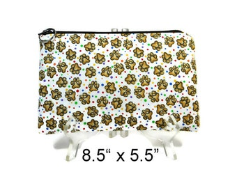 Paw Print Zipper Pouch, Dog Print Cosmetic Bag, Pencil Pouch, Accessory Bag, Gadget Case, E-Cig Case, Zip Bag, Padded Pouch, Purse Pouch