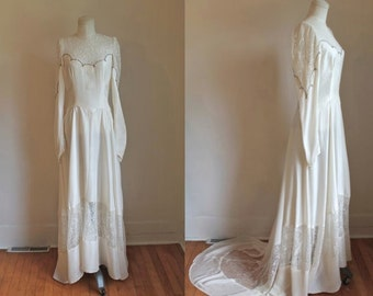 vintage 1940s wedding dress - WEDDING BELL ivory silk beaded wedding gown / M