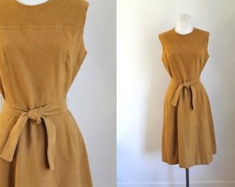 vintage 1960s velvet dress - CARAMEL mustard belted shift dress / XS-S