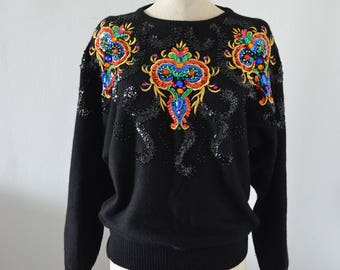 Vtg 80s GLAM ROCKIN SEQUINED Sparkling Embroidery Beaded Black/Colorful Sweatershirt M