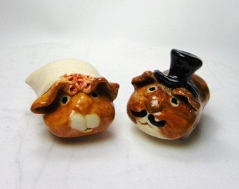 Guinea Pig  - Wedding Cake Topper - Handmade  Figurines - Pottery Animals - Ceramic Sculpture - set of two