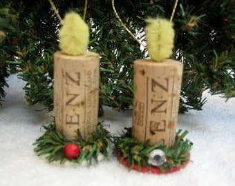 Wine Cork Candle Christmas Ornaments with Poker Chips - Set of Two