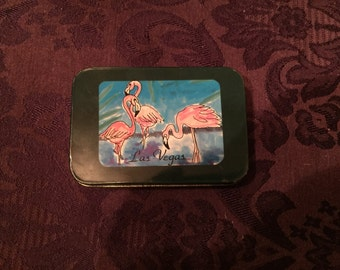 Las Vegas Vintage Playing Cards, 1980s, Tin Box, Cards Sealed, Full Deck, Flamingos, CAT NOT INCLUDED