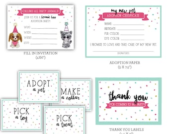Pet Adoption - Beanie Boo Printable Party Pack! Instant Download