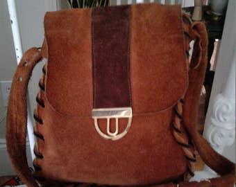 60s SUEDE SHOULDER BAG—Whipstitched Edges—Gold Snap Closure—Rust and Brown Suede
