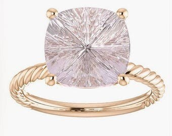 Bright Star Pink Morganite Rope Ring Designer Gemstone