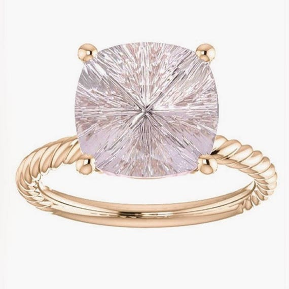 Pink Morganite Cushion Cut Rope Ring Designer Gemstone