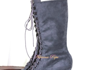 Grey suede leather Victorian shoes Victorian Boots lace up Boots in light Grey suede noboco leather Granny Booties