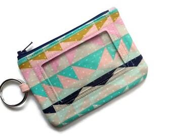 Id Keychain Wallet- Southwest Serape-Coin Purse-Pastels