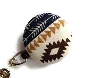 Tribal Retractable Badge Holder Badge Reel ID Badge Holder Retractable Lanyard Name Badge Swivel Badge Clip ID Holder RN Id Navy Cream